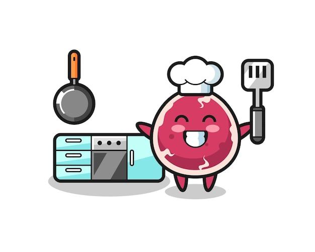 Ilustração de personagem de carne bovina enquanto o chef está cozinhando, design de estilo fofo para camiseta, adesivo, elemento de logotipo