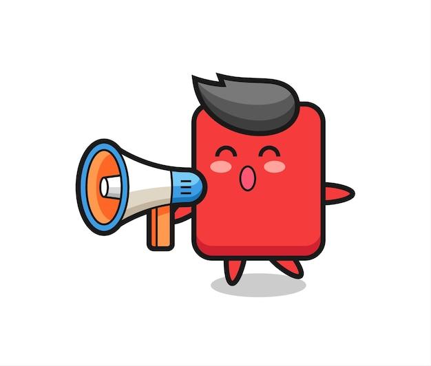 Ilustração de personagem de cartão vermelho segurando um megafone, design de estilo fofo para camiseta, adesivo, elemento de logotipo