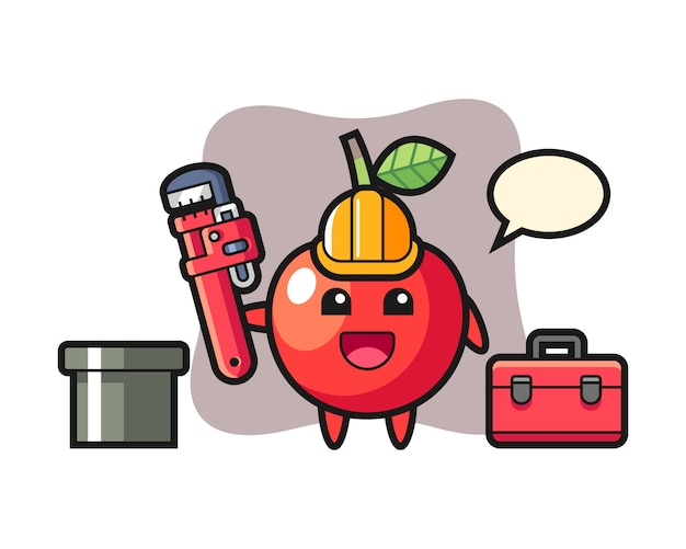 Ilustração de personagem de cereja como um encanador, design de estilo bonito