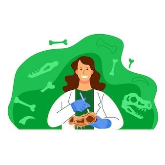 Ilustração de personagem de cientista de arqueologia de mulher