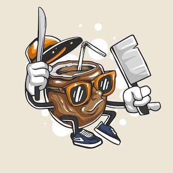 Ilustração de personagem de coco