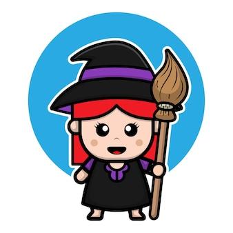 Ilustração de personagem de desenho animado com fantasia de bruxa fofa