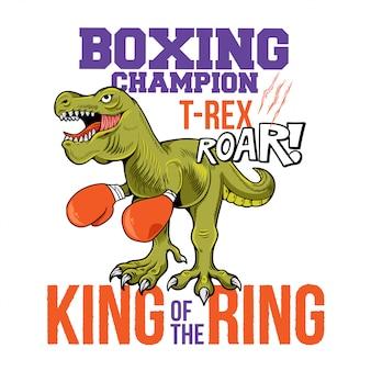 Ilustração de personagem de desenho animado com o campeão de boxe t-rex tiranossauro dinossauro rei do ringue.