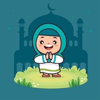 Ilustração de personagem de desenho animado cute girl muçulmano ramadan