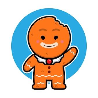 Ilustração de personagem de desenho animado de biscoitos de gengibre fofos conceito de vetor de natal