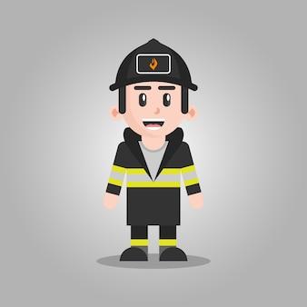 Ilustração de personagem de desenho animado de bombeiro
