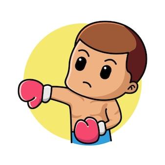 Ilustração de personagem de desenho animado de boxe menino bonito