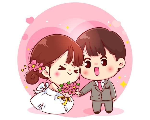 Ilustração de personagem de desenho animado de casal de noivos