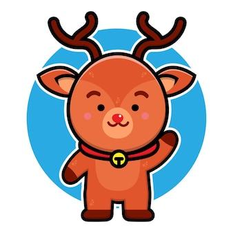 Ilustração de personagem de desenho animado de cervo fofo conceito de vetor de natal