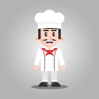 Ilustração de personagem de desenho animado de chef profissional