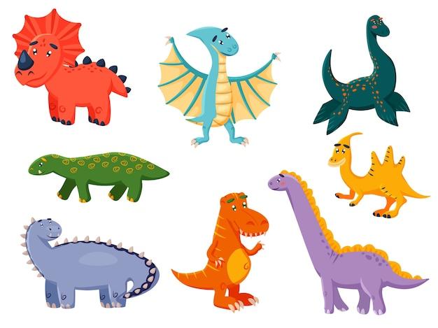 Ilustração de personagem de desenho animado de dinossauros coloridos