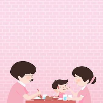 Ilustração de personagem de desenho animado de mesa de jantar familiar