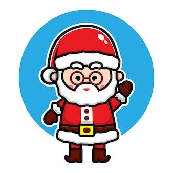 Ilustração de personagem de desenho animado de papai noel fofo conceito de vetor de natal