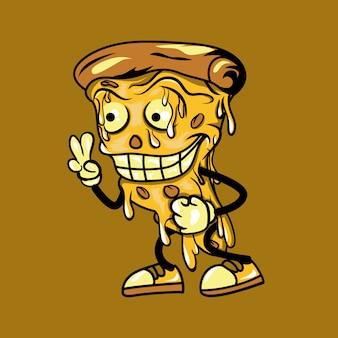 Ilustração de personagem de desenho animado de pizza