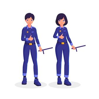 Ilustração de personagem de desenho animado de polícia de casal
