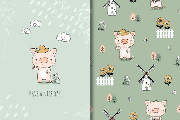Ilustração de personagem de desenho animado de porco pequeno bonito estilo desenhado na mão. cartão e padrão sem emenda.