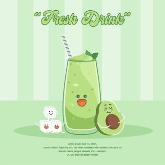 Ilustração de personagem de desenho animado de suco de abacate e suco de gelo