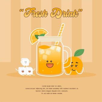 Ilustração de personagem de desenho animado de suco de laranja fofo