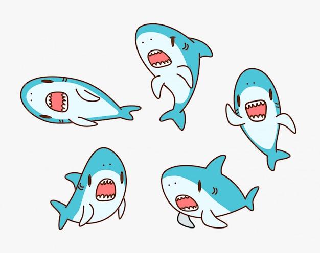 Ilustração de personagem de desenho animado de tubarão kawaii
