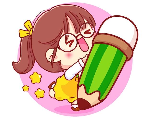 Ilustração de personagem de desenho animado linda garota com lápis de papelaria