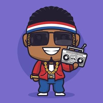 Ilustração de personagem de desenho animado rapper menino