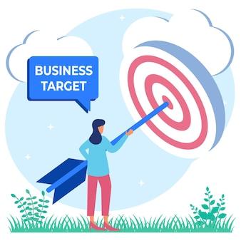 Ilustração de personagem de desenho vetorial gráfico de alvo de negócios