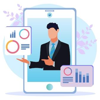 Ilustração de personagem de desenho vetorial gráfico de análise de negócios
