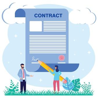 Ilustração de personagem de desenho vetorial gráfico de assinatura de contrato