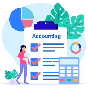Ilustração de personagem de desenho vetorial gráfico de contabilidade