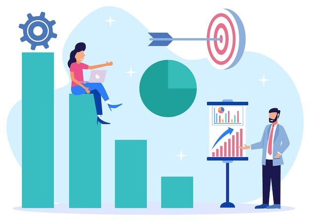 Ilustração de personagem de desenho vetorial gráfico de crescimento de negócios