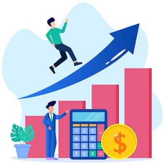 Ilustração de personagem de desenho vetorial gráfico de crescimento e progresso de negócios