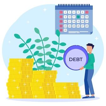 Ilustração de personagem de desenho vetorial gráfico de dívida