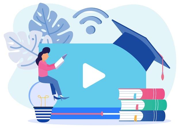 Ilustração de personagem de desenho vetorial gráfico de educação online