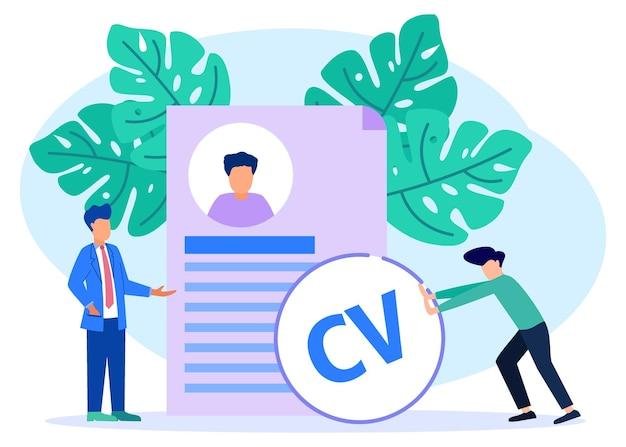 Ilustração de personagem de desenho vetorial gráfico de entrevista de emprego e recrutamento