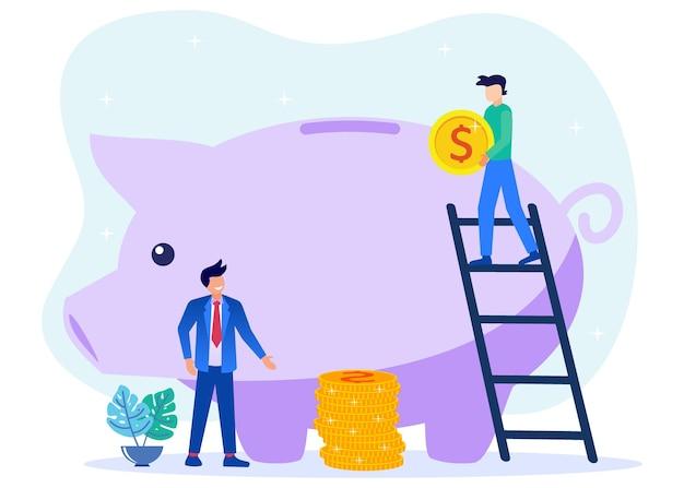Ilustração de personagem de desenho vetorial gráfico de futuro investimento