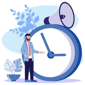 Ilustração de personagem de desenho vetorial gráfico de gerenciamento de tempo