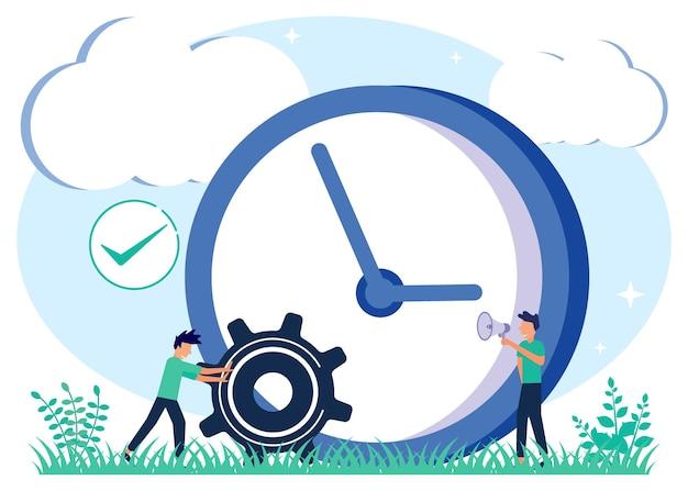 Ilustração de personagem de desenho vetorial gráfico de gerenciamento de tempo Vetor Premium