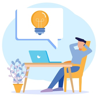 Ilustração de personagem de desenho vetorial gráfico de ideias de negócios