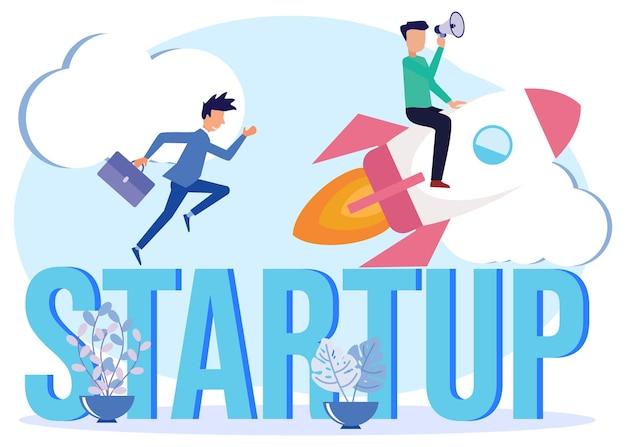 Ilustração de personagem de desenho vetorial gráfico de início de negócios