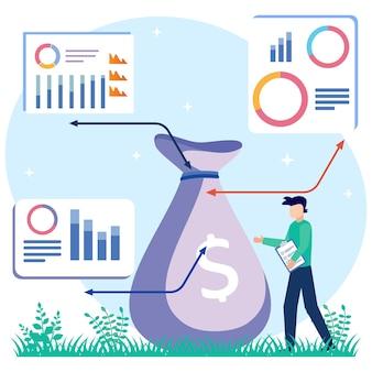 Ilustração de personagem de desenho vetorial gráfico de lucro empresarial