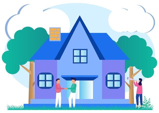 Ilustração de personagem de desenho vetorial gráfico de projeto residencial e residencial