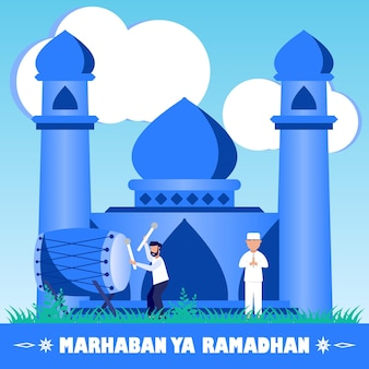 Ilustração de personagem de desenho vetorial gráfico de ramadan kareem Vetor Premium