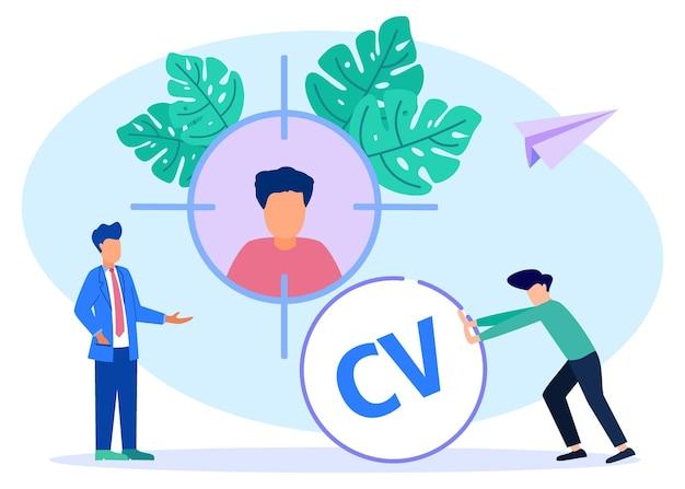 Ilustração de personagem de desenho vetorial gráfico de recrutamento de empresas