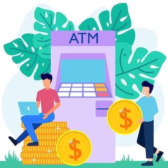 Ilustração de personagem de desenho vetorial gráfico de retirada de dinheiro