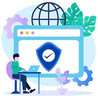 Ilustração de personagem de desenho vetorial gráfico de segurança na internet