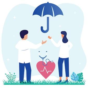 Ilustração de personagem de desenho vetorial gráfico de seguro saúde