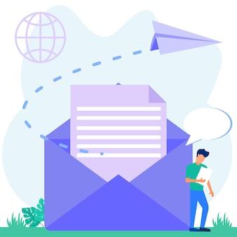 Ilustração de personagem de desenho vetorial gráfico de serviços de e-mail