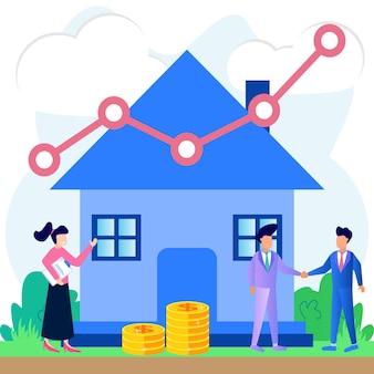 Ilustração de personagem de desenho vetorial gráfico do mercado imobiliário