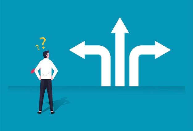 Ilustração de personagem de empresário confundida na tomada de decisão em negócios com o sinal de seta de direção. escolhas, carreira, conceito de mente confusa.