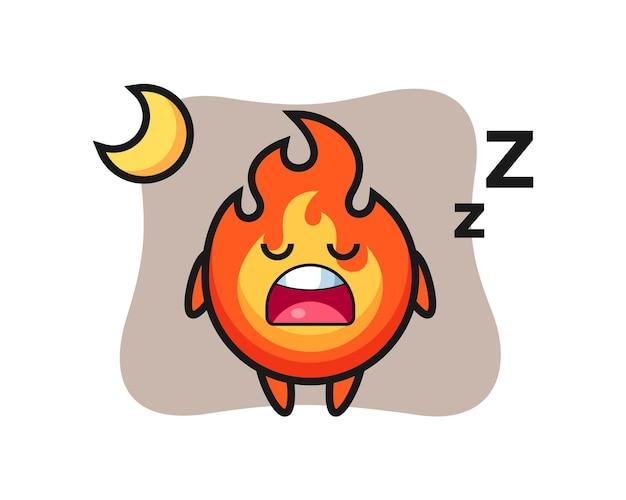 Ilustração de personagem de fogo dormindo à noite, design de estilo fofo para camiseta, adesivo, elemento de logotipo